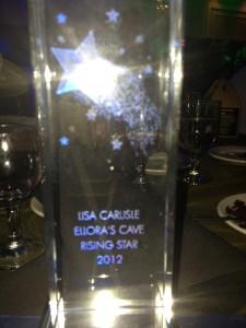 Lisa Carlisle, rising star, Ellora's Cave award